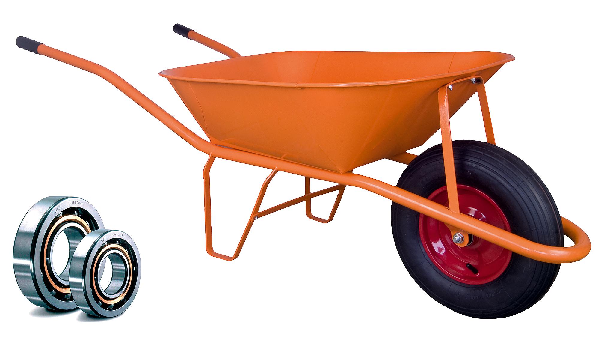 HTI Stavební kolečko PROFI 60l oranžové nafukovací pneumatika LOŽISKA KSLN02 Ložisko v kole: Kuličkové