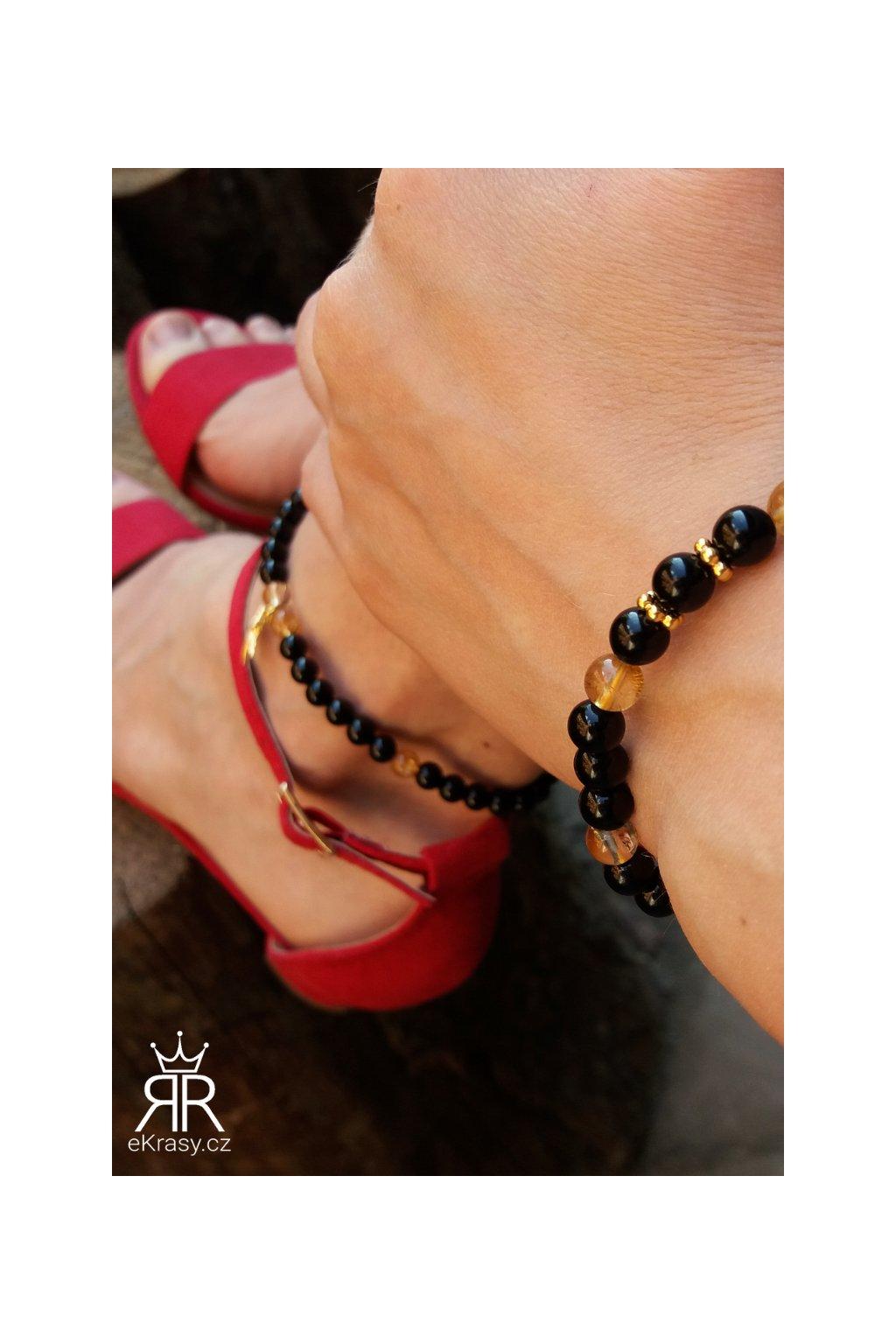 eKrasy sada Hvězda - černo žlutý náramek na ruku a nohu