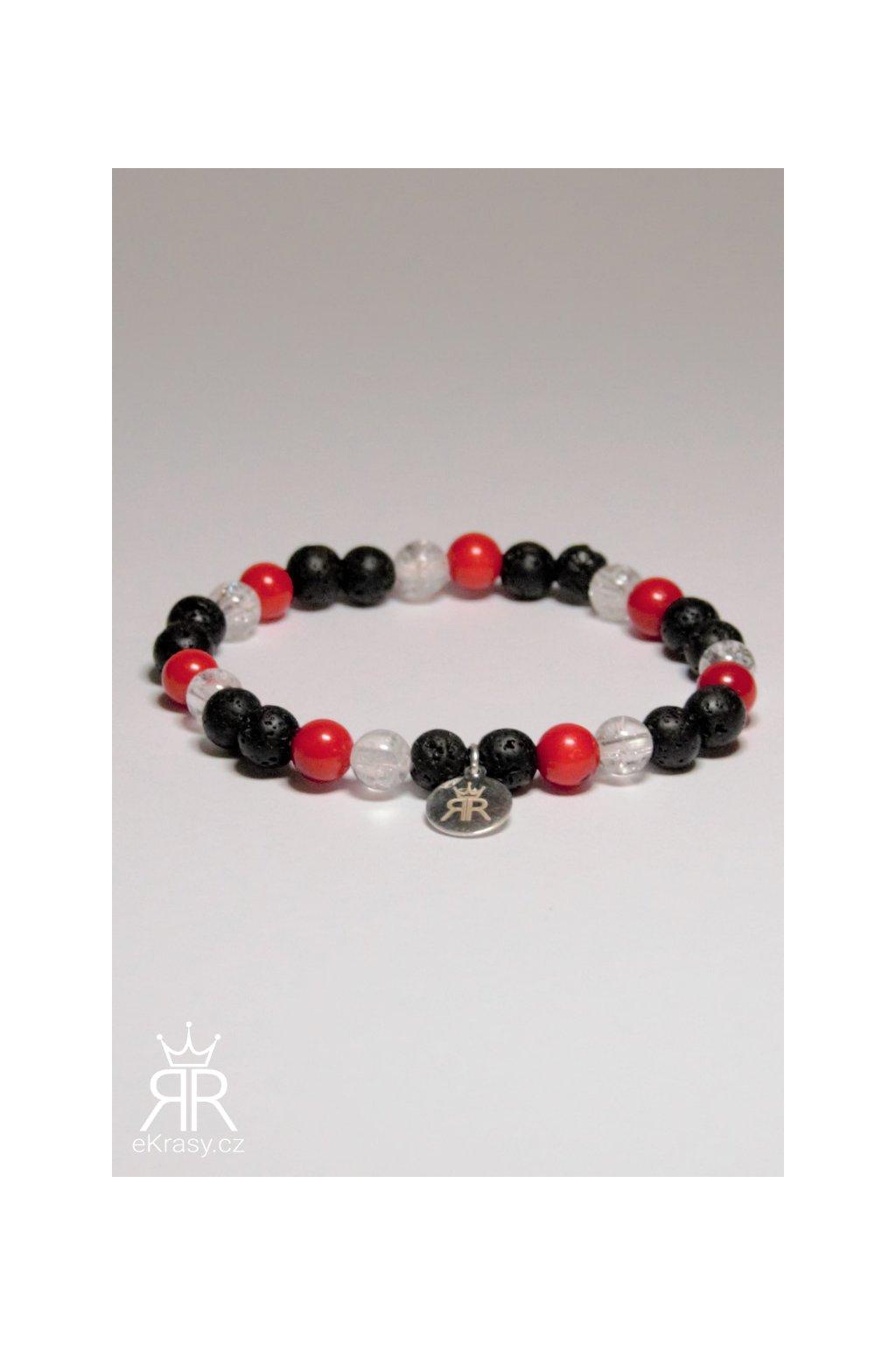 Korál červený, Láva černá, Křišťál drcený náramek (1)