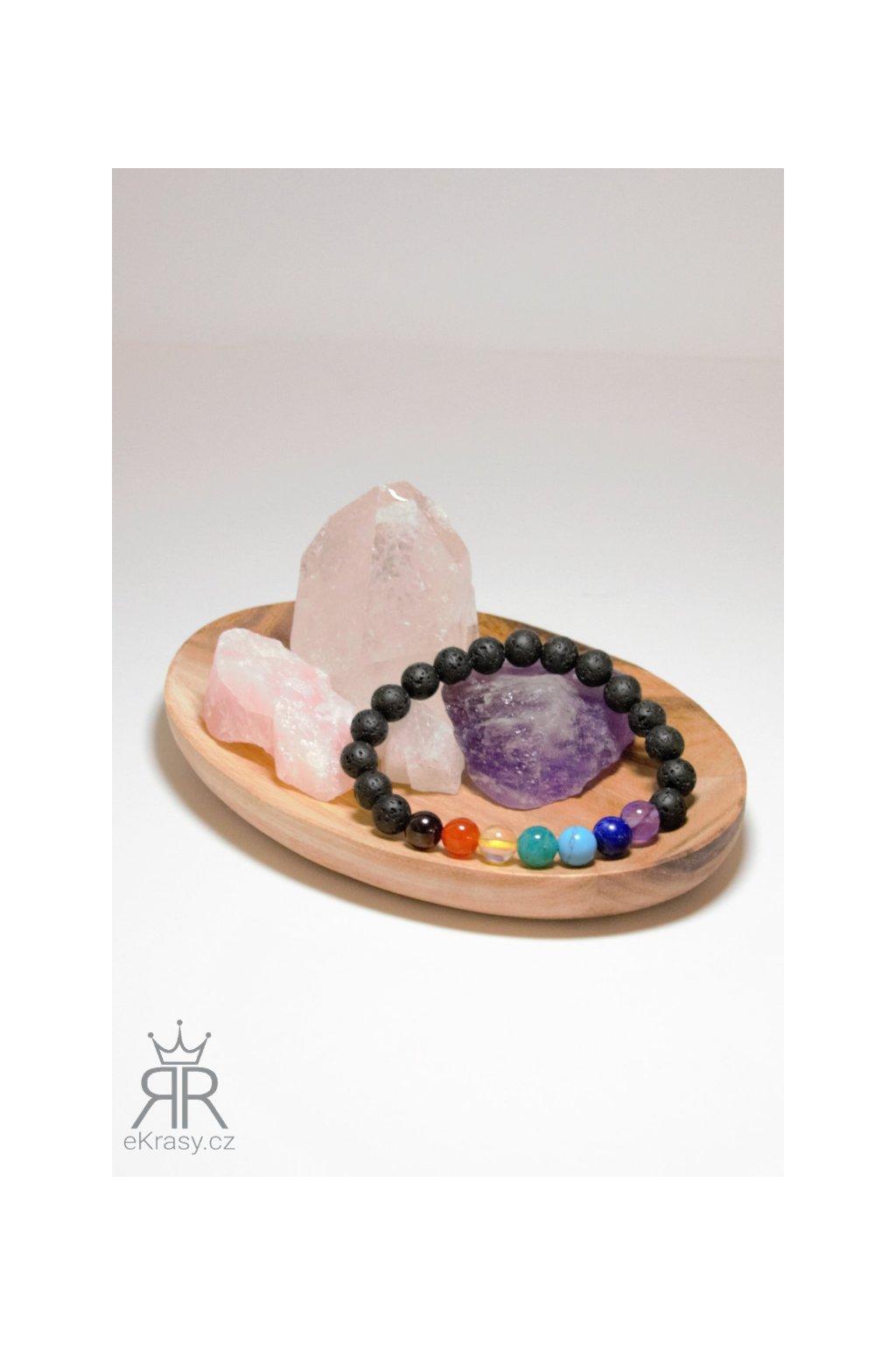 eKrasy náramek Čakry Dua s drahými kameny - brazilský granát, karneol, citrín, amazonit, tyrkenit, lapis lazuli a ametyst, láva