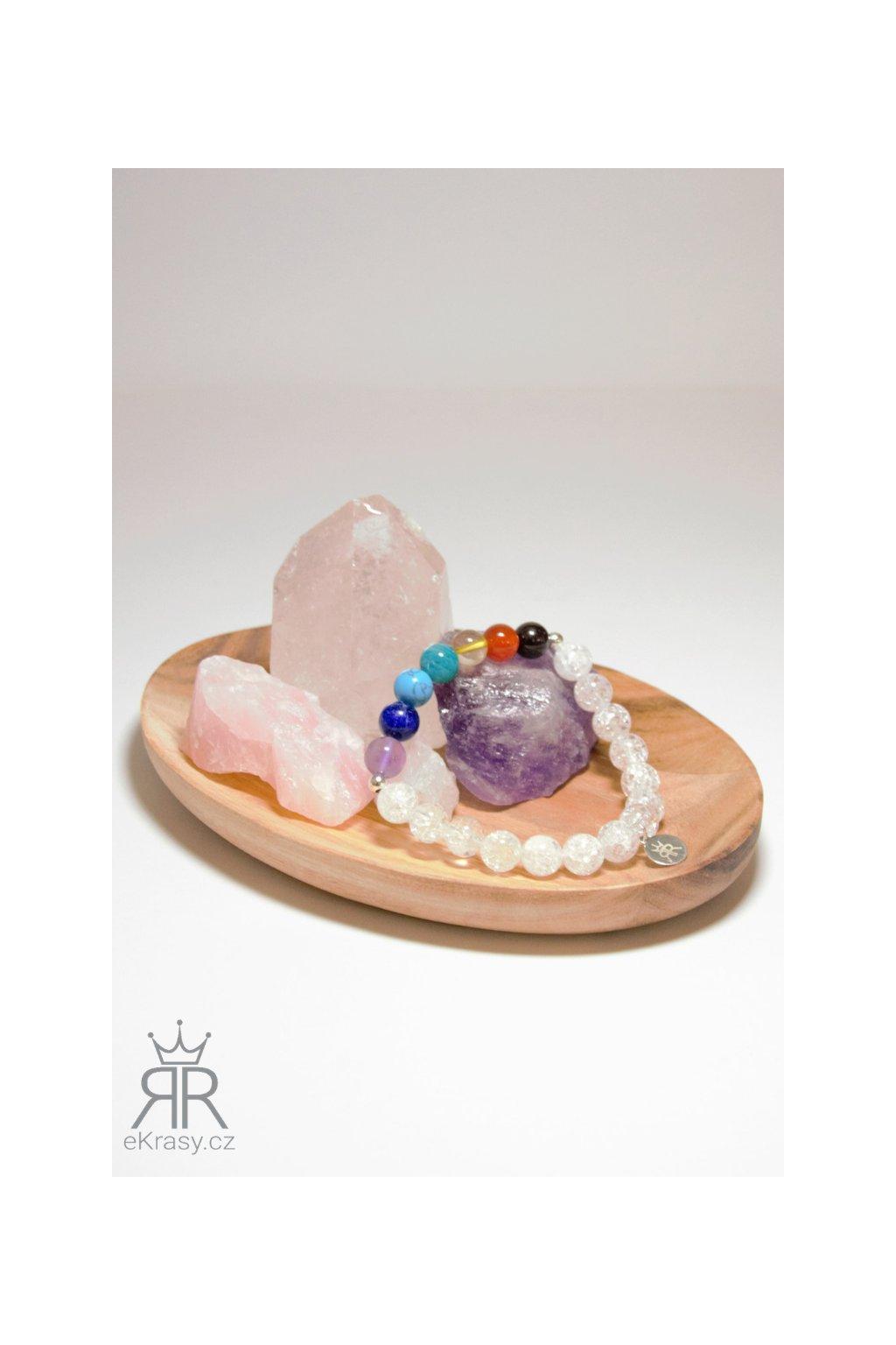 eKrasy náramek Čakry Tiga s kameny brazilský granát, karneol, citrín, amazonit, tyrkenit, lapis lazuli a ametyst, křišťál