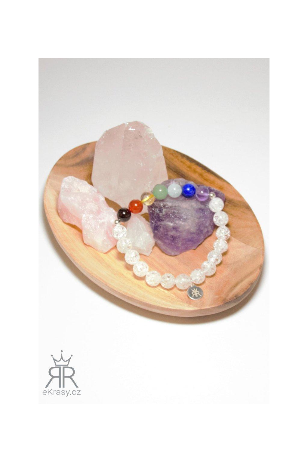 eKrasy náramek Čakry Empat s drahými kameny - brazilský granát, karneol, citrín, avanturín, akvamarín, lapis lazuli a ametys, křišťál