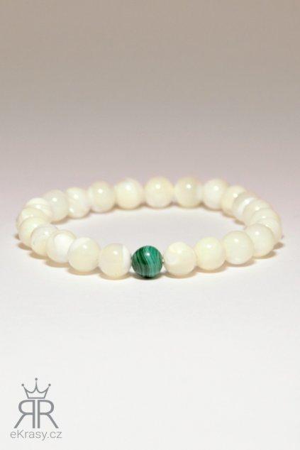 eKrasy náramek Sněhulák - bílý náramek pro muže z perleti a malachitu