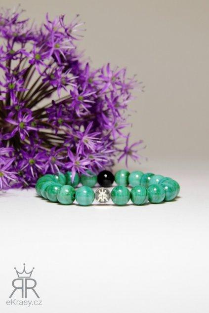 eKrasy náramek Beatrix - luxusní náramek pro ženy z přírodních kamenů malachit a onyx
