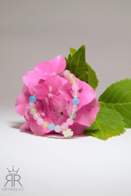 eKrasy náramek Duhová víla - krásný dárek pro dívku, malé kuličky achátu