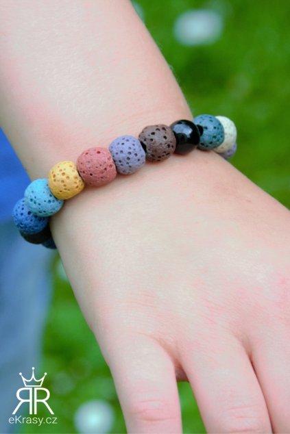 eKrasy náramek Barevný sen - náramek pro děti z lávových kamenů