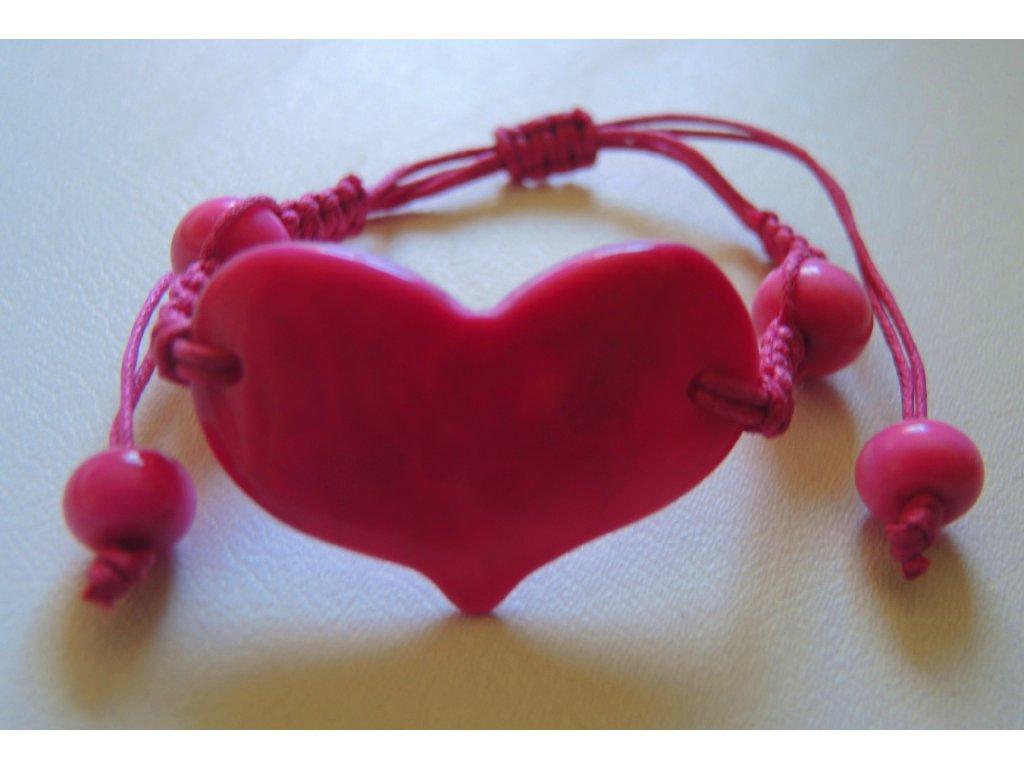 Náramek unisex utahovací růžové srdíčko