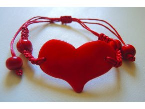 Náramek unisex utahovací červené srdíčko