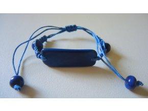 Náramek unisex utahovací obdélník blankytně modrý
