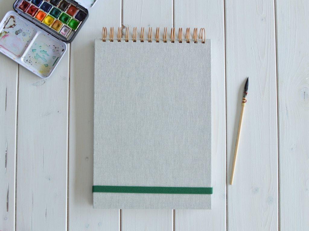 Kroužkový skicák L zelenkavá