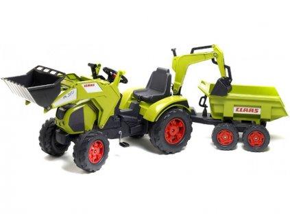 FALK - Šlapací traktor Claas Axos s nakladačem, rypadlem a vlečkou - FA-1010W