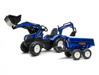 FALK - Šlapací traktor New Holland T8 s nakladačem, rypadlem a maxi vlečkou - FA-3090W