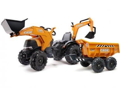 FALK - Šlapací traktor Case IH Beckhoe s nakladačem, rypadlem a vlečkou - FA-997W