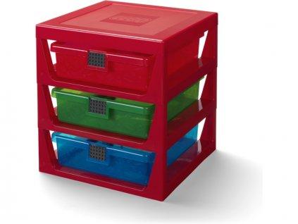 LEGO organizér se třemi zásuvkami - červená - LEGO40950001