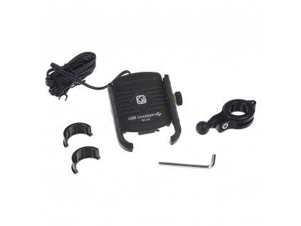 Univerzální držák pro telefony na kolo, motocykl s USB nabíječkou - r13usb