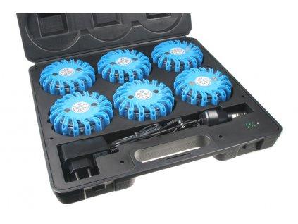 LED výstražné světlo 16LED, modré, set 6ks - wl-h02set6blu