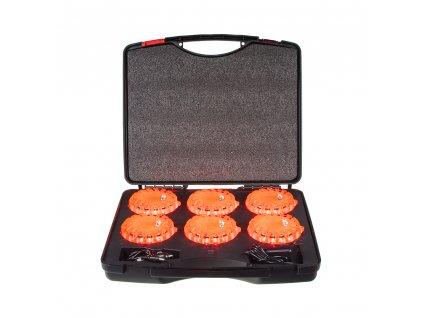 LED výstražné světlo 16LED, červené, set 6ks - wl-h02set6red