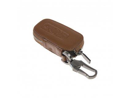 x Kožený obal se zipem hnědý pro klíč BMW, 3-tlačítkový (48BW102) - 483BW102bw