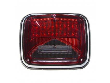 Výstražné LED světlo obdélníkové s přísvitem, 12-24V, červené, ECE R65 - kf026red