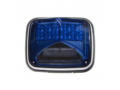 Výstražné LED světlo obdélníkové s přísvitem, 12-24V, modré, ECE R65 - kf026blu