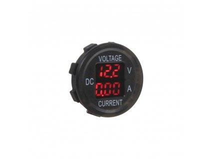 Digitální ampérmetr a voltmetr 6-30V červený - 34545