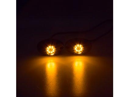 LED stroboskop oranžový 8x3W, 12-24V - kf708