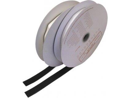 Suchý zip samolepící - háčky, 0,2x25m, černý - wt310/25BK