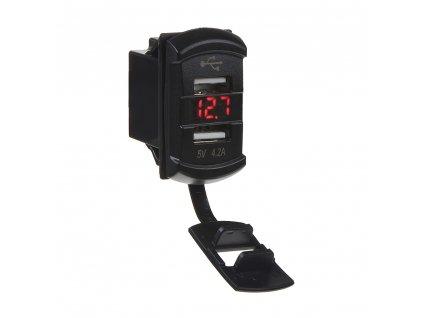 """2x USB zásuvka s voltmetrem """"Rocker"""" - 34554"""