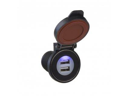 2x USB zásuvka s magnetem ve voděodolném držáku max 2x 2,4 A - 34557