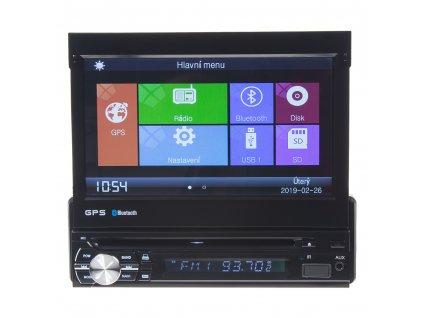 """1DIN DVD autorádio s výsuvným 7"""" LCD, bluetooth,multicolor, SD/USB/FM/DUAL-GPS/RDS/ČESKÉ MENU - 80822gps"""