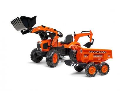 FALK - Šlapací traktor Kubota s nakladačem, rypadlem a Maxi vlečkou - FA-2090W