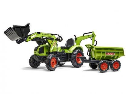 FALK - Šlapací traktor Claas Backhoe s nakladačem, rypadlem a Maxi vlečkou - FA-2070W