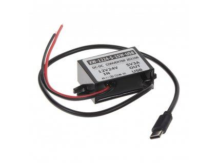 Měnič napětí 12-24/5V, 3A USB-C - 34156