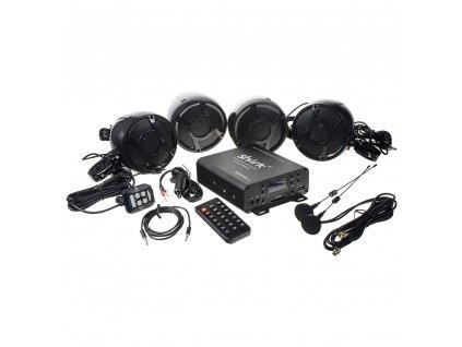 4.1CH zvukový systém na motocykl, skútr, ATV, loď s FM, USB, AUX, BT, černé - rsm104bl