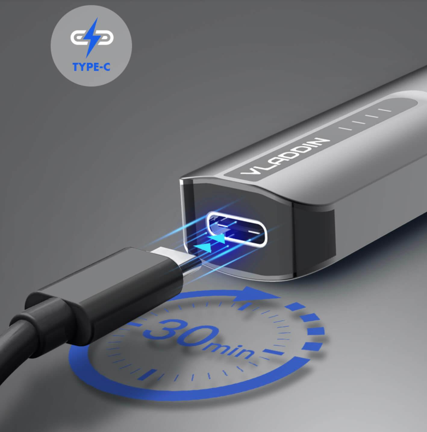 Ecigareta VLADDIN - super rychlé nabíjení přes USB C