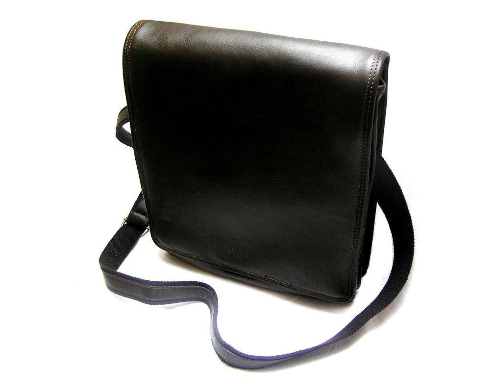 Kožená taška přes remeno KATANA - tmavě hnědá