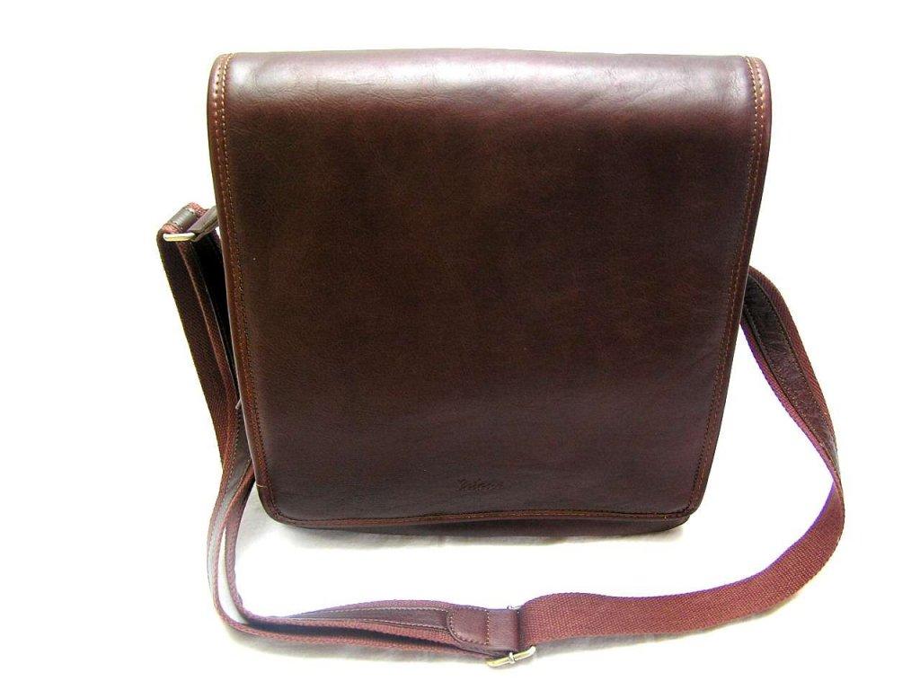 Kožená taška přes remeno KATANA - hnědá