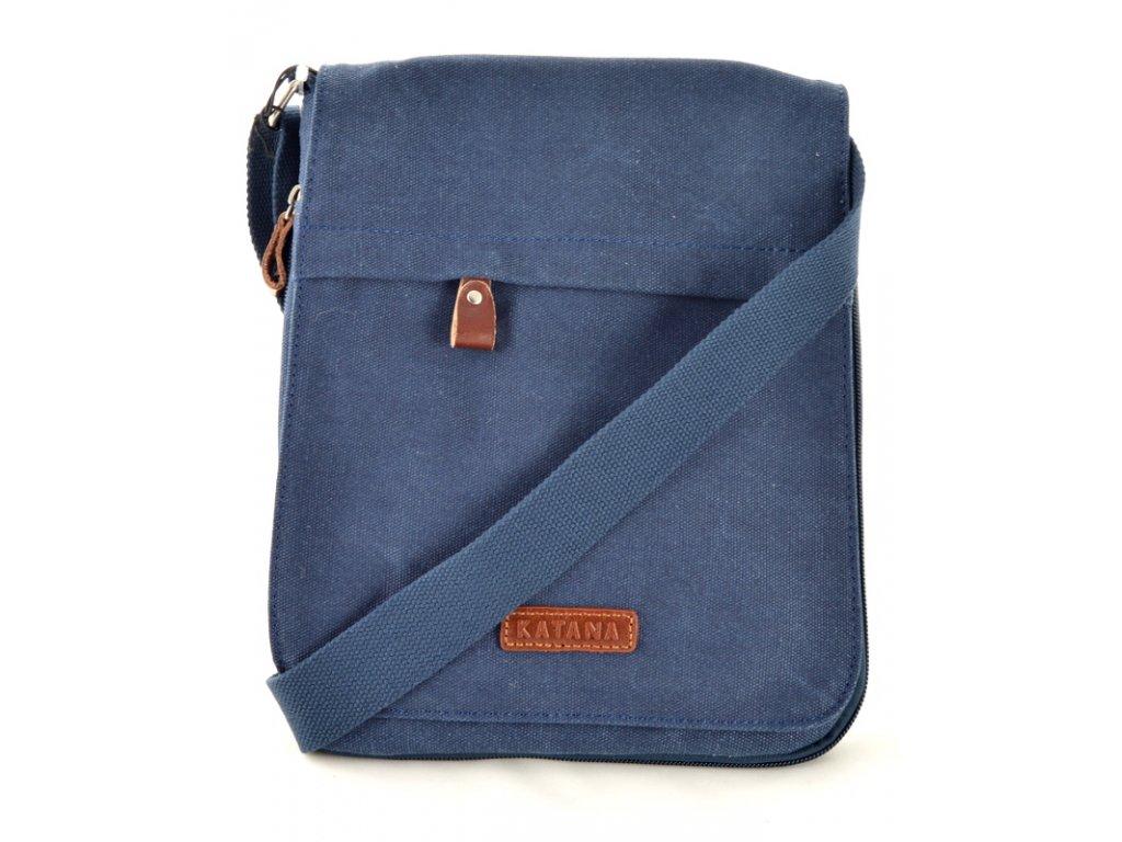 Taška přes rameno Katana z pevného textilu - modrá