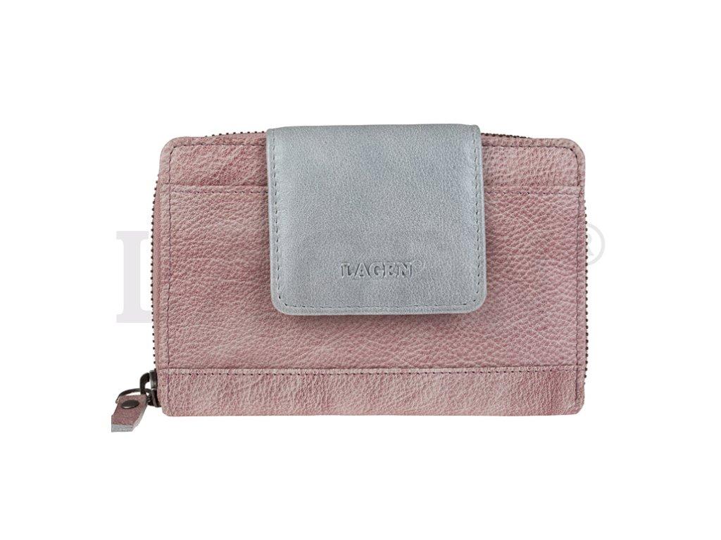 Prostorná kožená peněženka s přezkou Lagen - fialovo stříbrná