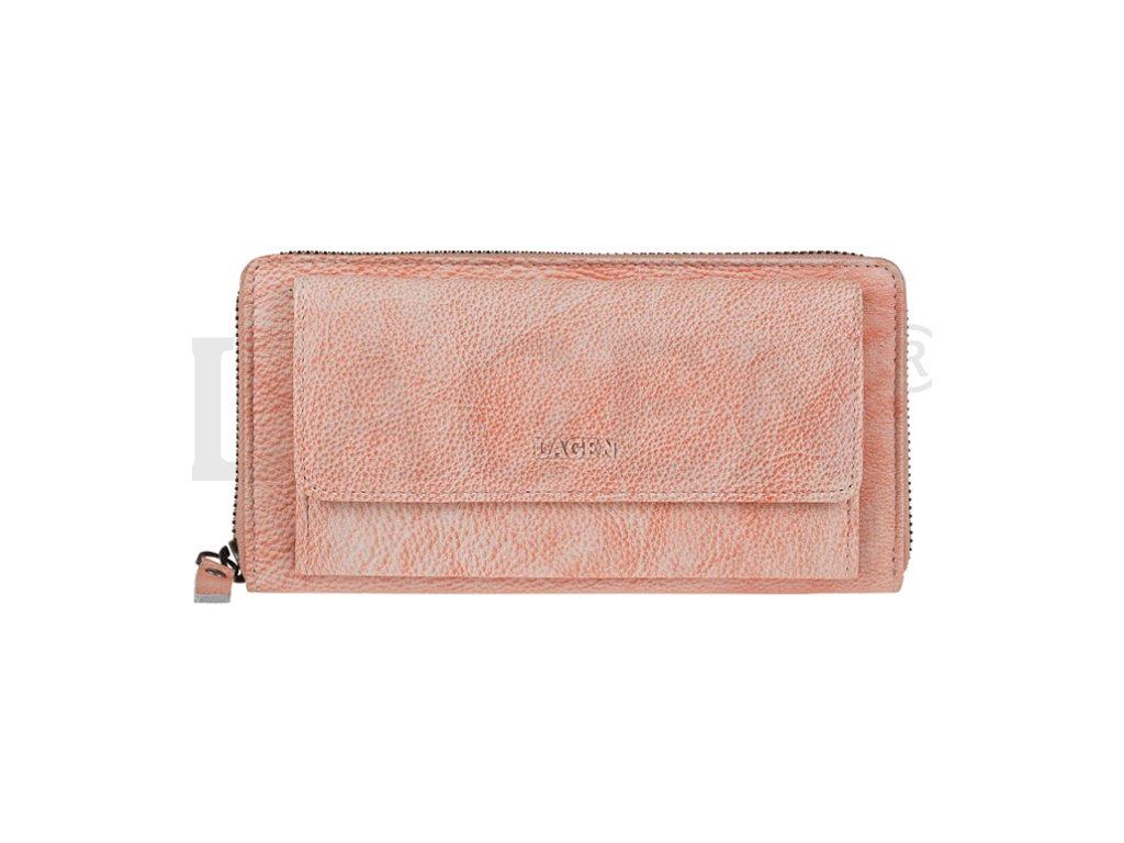 Kožená penálová peněženka s kapsou na TF Lagen - oranžová