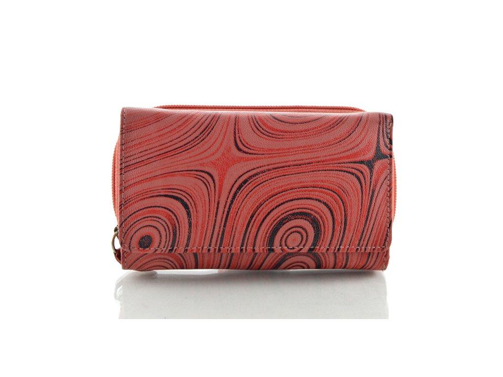 Podlouhlá kožená peněženka se vzorem - červeno černá