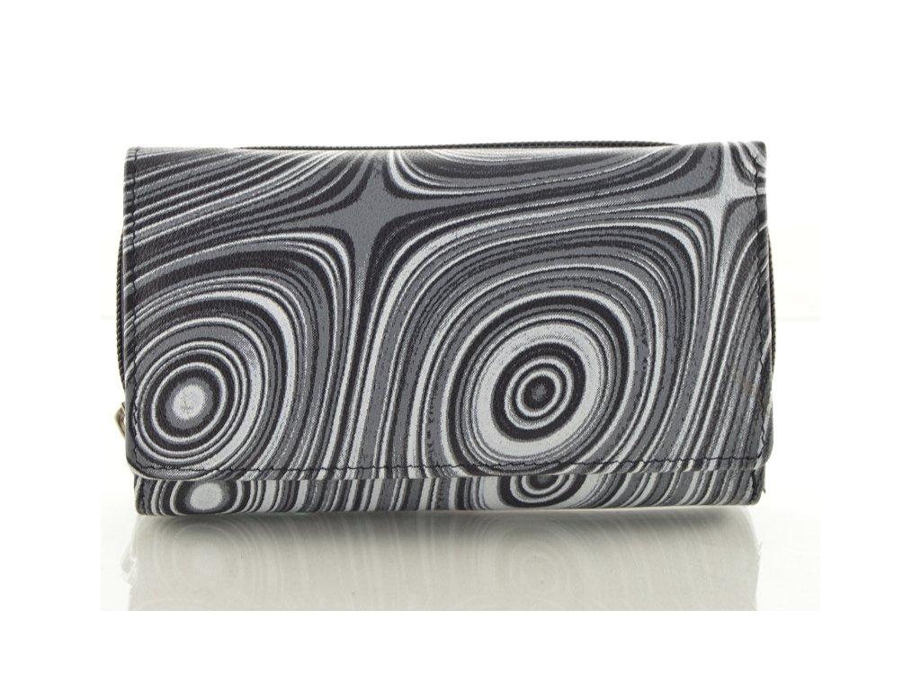 Podlouhlá kožená peněženka se vzorem - černá