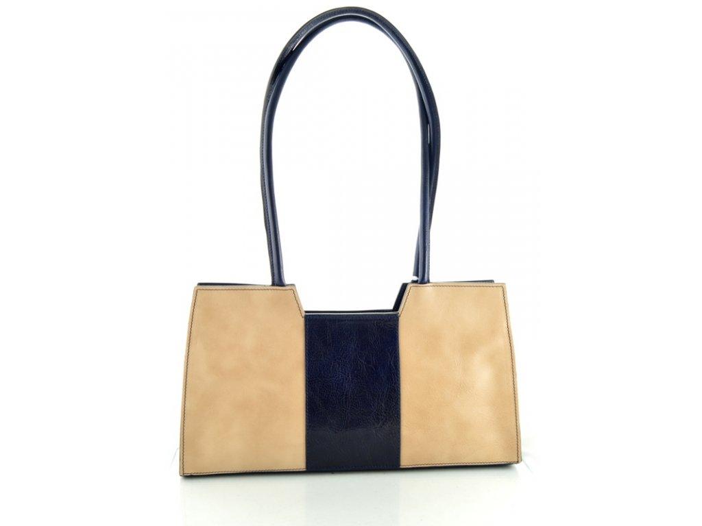Menší kožená kabelka Silvercase - béžovo modrá