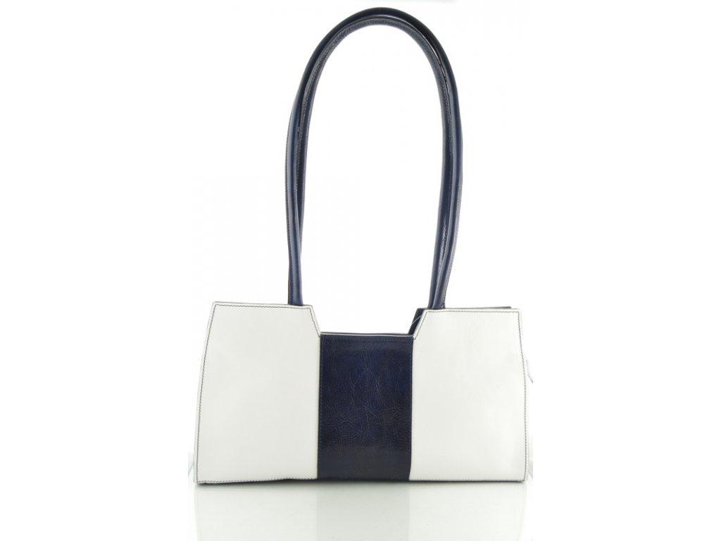 Menší kožená kabelka Silvercase - bílo modrá