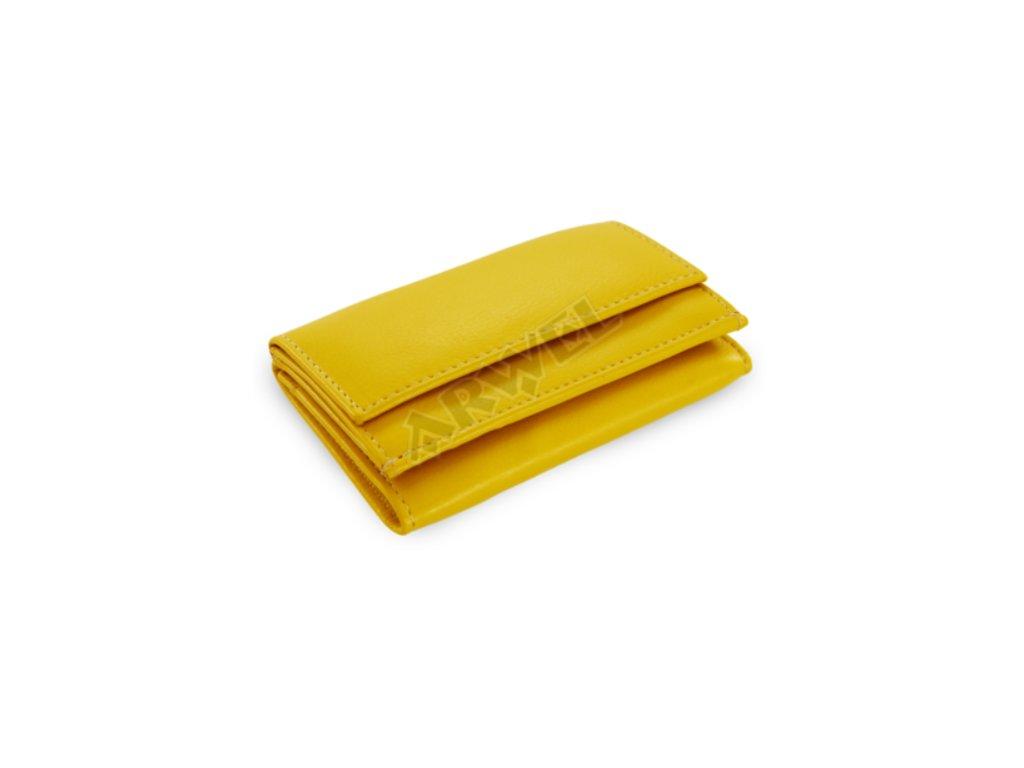 Kožená mini peněženka - žlutá