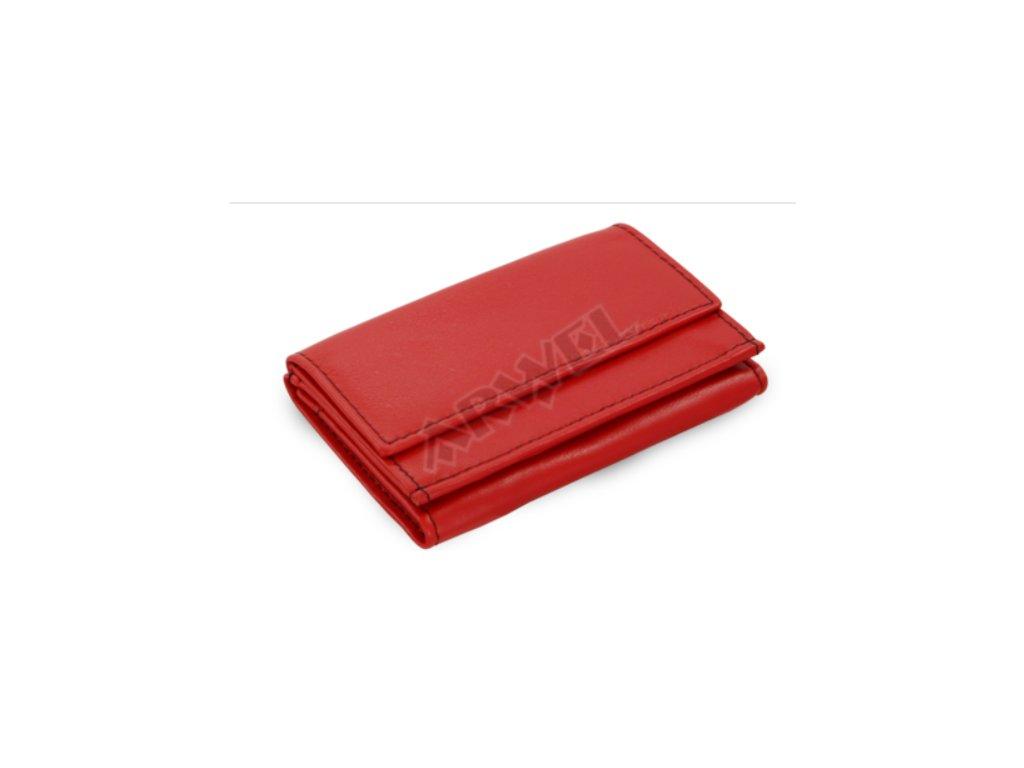 Kožená mini peněženka - červená