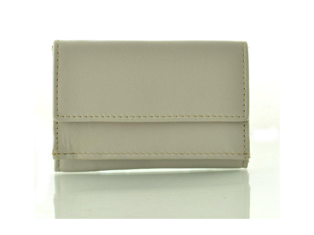 Kožená mini peněženka - krémová
