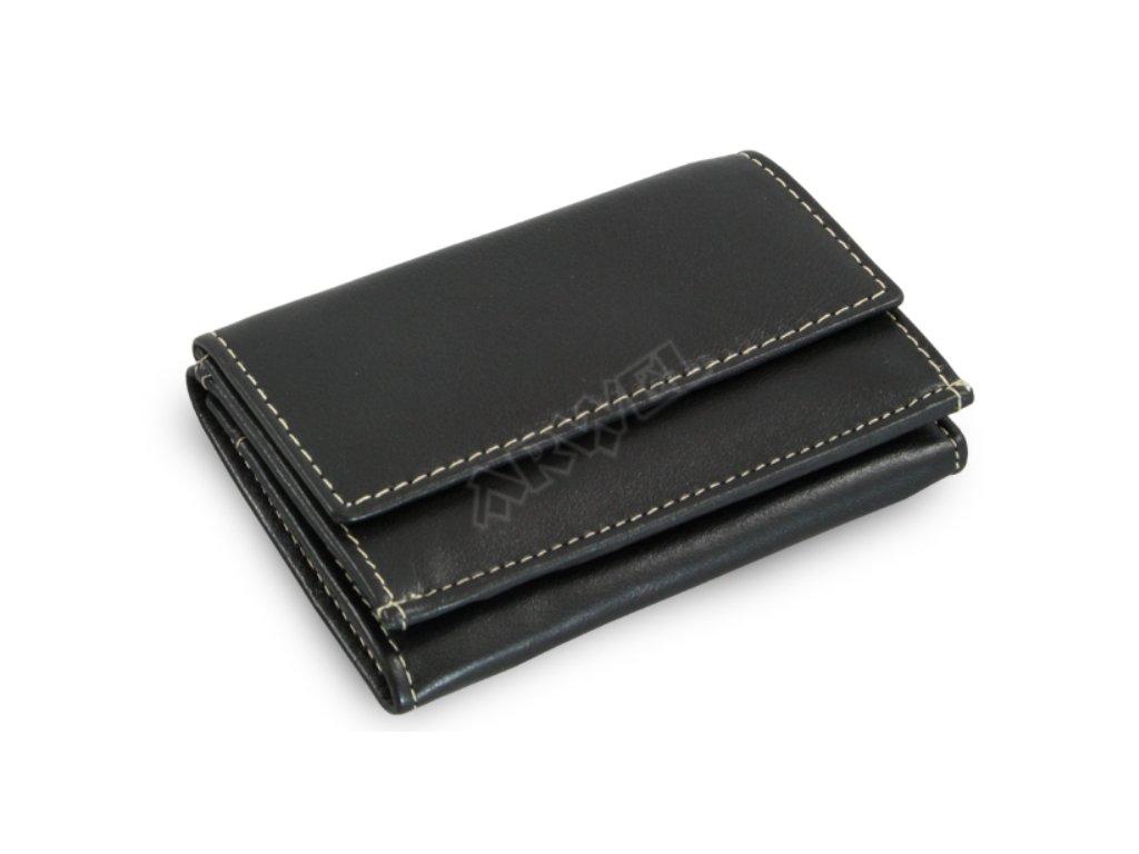 Kožená mini peněženka - černá