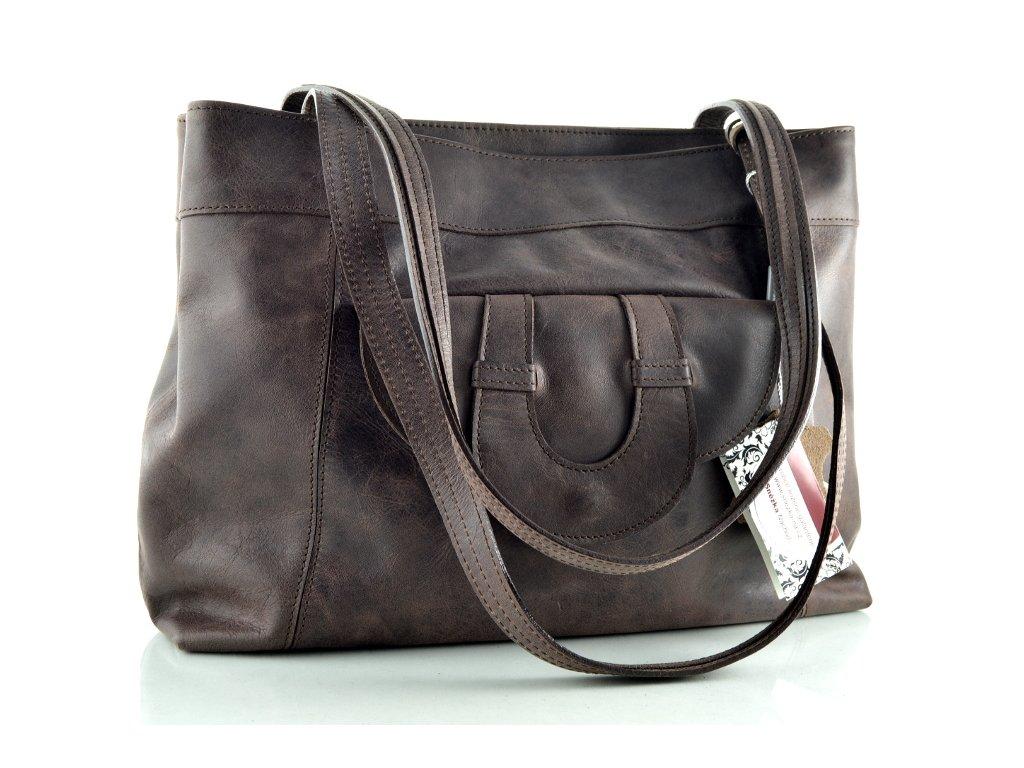 Elegantní kožená kabelka Silvercase - tmavě hnědá rustik tmavě hnědá