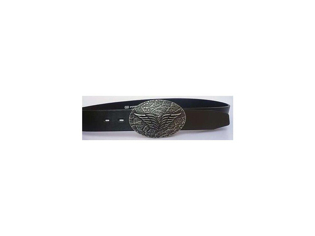 Černý kožený opasek s plnou sponou - Penny Belts